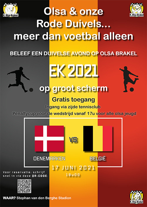 Denemarken - België op groot scherm