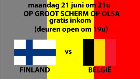Finland - België op groot scherm