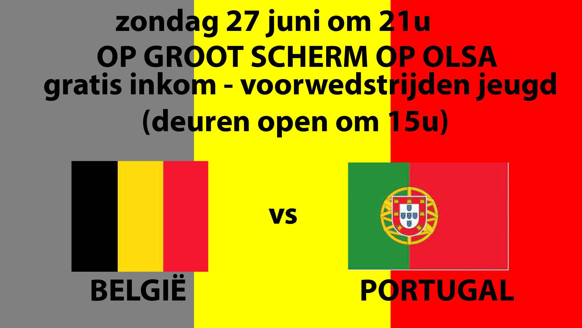 België-Portugal op groot scherm