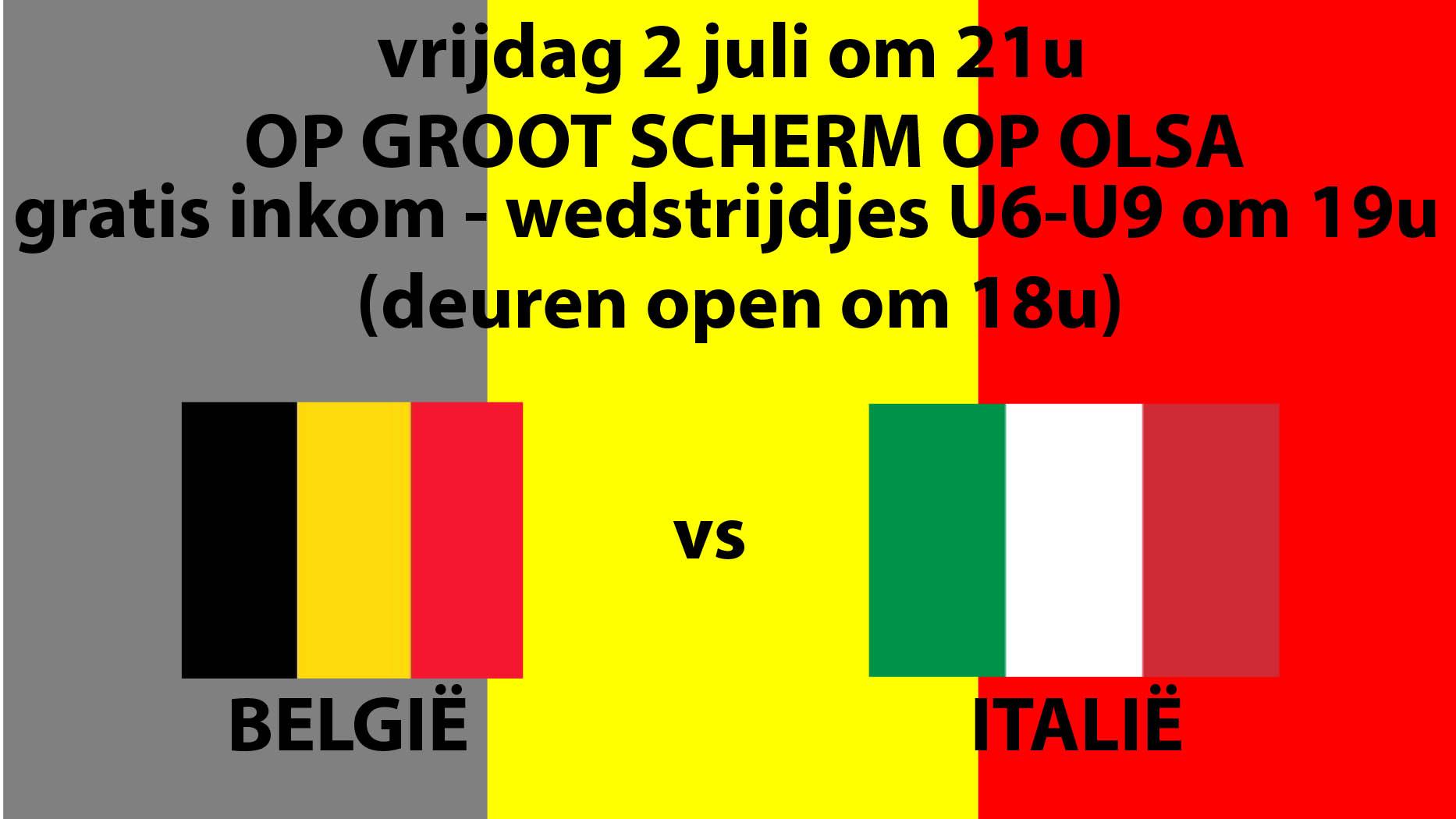 België-Italië op groot scherm