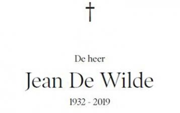 Jean De Wilde overleden