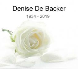 Denise De Backer overleden