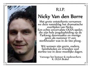 Nicky Van den Borre plots overleden