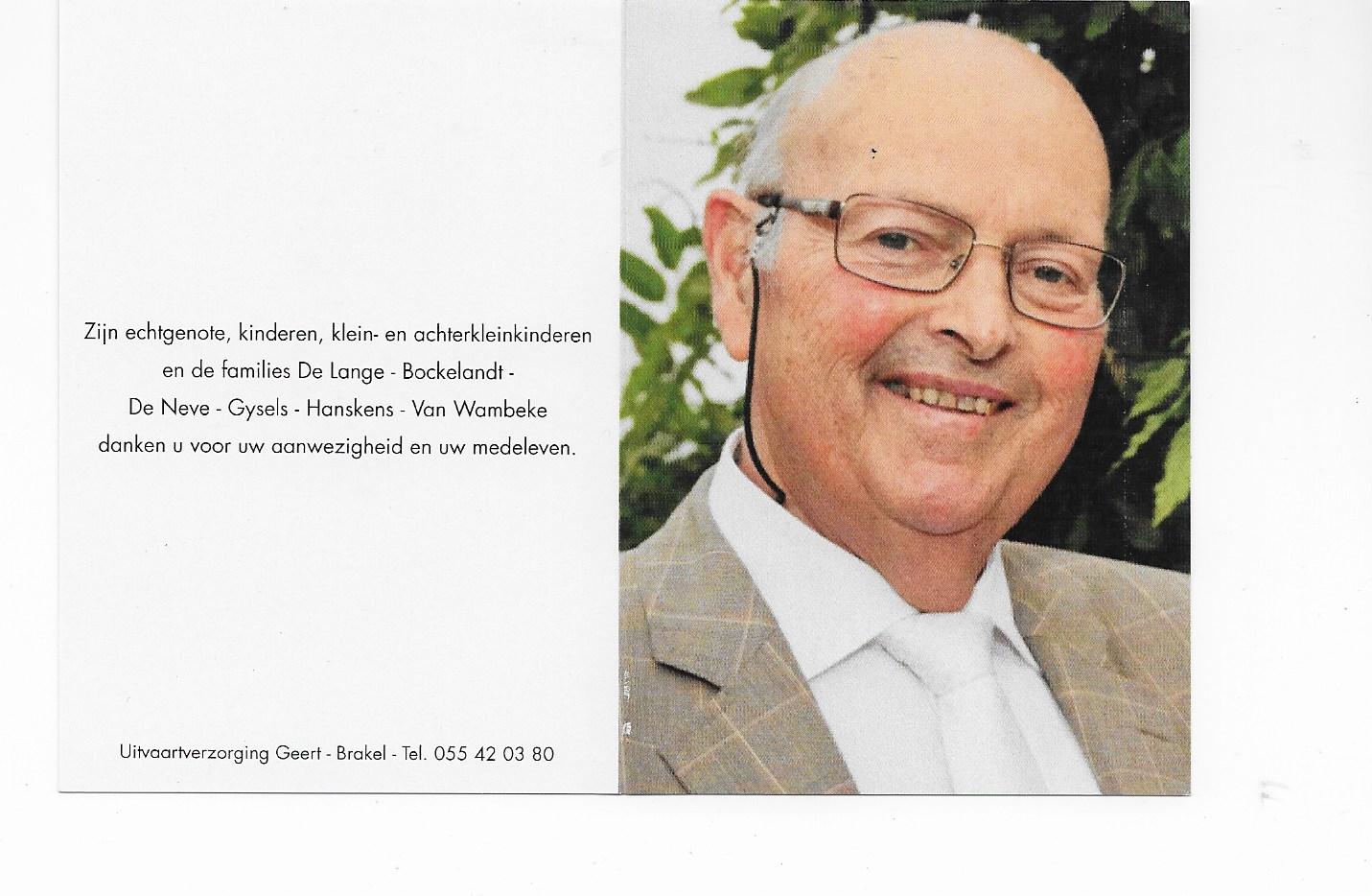 Armand De Lange overleden
